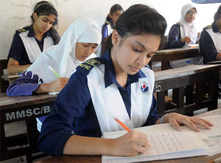 students are seen taking part in JSC exams in capital    Photo: Tapan Dey