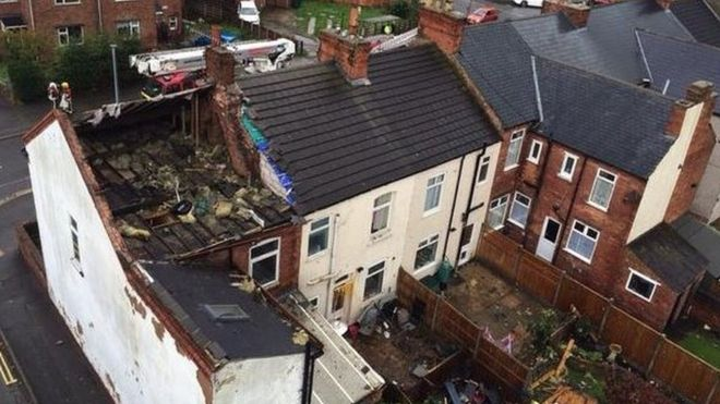The tornado tore Mr Sitch's roof away from the building and into a neighbour's garden