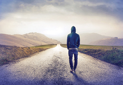 Continuous journey of strange man