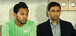 Mushfiqur Rahim talking to media on Saturday regarding 'indecent criticism' made by Barisal Bulls co-owner. 	photo: Courtesy