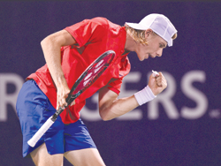 Denis Shapovalov of Canada reacts after scoring a point against Rafael Nadal of Spain during day seven of the Rogers Cup presented by National Bank at Uniprix Stadium on Thursday in Montreal, Quebec, Canada.	photo: AFP