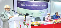 Prof. Foizur Rahman, Electrical and Electronics Department, Green University speaking as the chief gust at seminar on stock trading and investment organised by Globe Security  at its extended office at Paltan Surma Tower in the capital on Saturday.