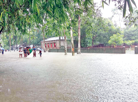 flash flood in the low lying areas and Teesta and Dharla river basin villages