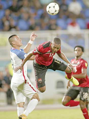 Trinidad and Tobago's Curtis Gonzales during the 2018 World Cup qualifier football match against the US in Couva, Trinidad and Tobago, on Tuesday.photo: AFP