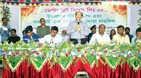 PM's Media Adviser and Editor of the Daily Observer Iqbal Sobhan Chowdhury speaking as chief guest at a meeting organised to mark the production expansion work and jute purchase drive of Delta Jute Mills Ltd at Chowmuhany of Begumganj upazila in Noakhali on Wednesday noon.     photo: Observer