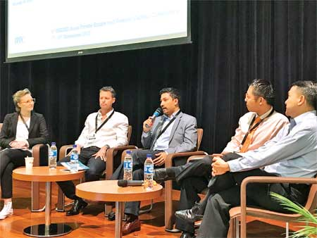 Shameem Ahsan, General Partner of Fenox Venture Capital and Chairman of eGeneration Group, flanked by other participants speaking at Venture Capital Conference told in Singapore recently.
