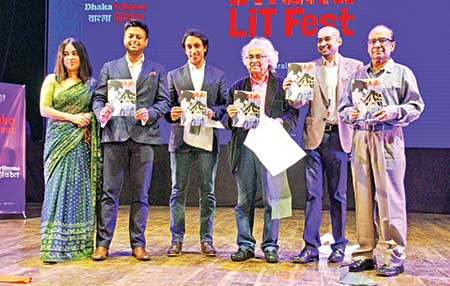 (From left): Sadaf Saaz, Ahsan Akbar, Radwan Mujib Siddiq Bobby, Ali Ahmad Said Esber, Kazi Anis Ahmed and Shamsuzzaman Khan at the launch of the graphic series �Mujib� in the inaugural session