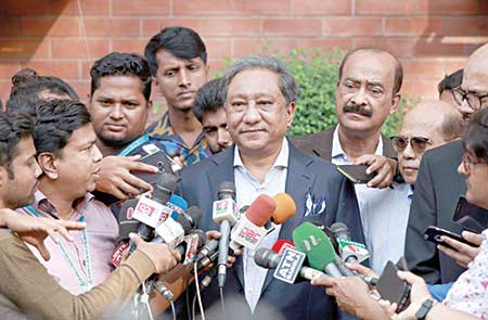 BCB president Nazmul Hasan Papon speaking to the media regarding the appointment of head coach for the National team at the Sher-e-Bangla National Cricket Stadium on Wednesday.       photo: BCB