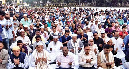 The qulkhwani of late DNCC mayor Annisul Huq was held at the Azad Masjid in the capital's Gulshan area on Wednesday.     photo : observer