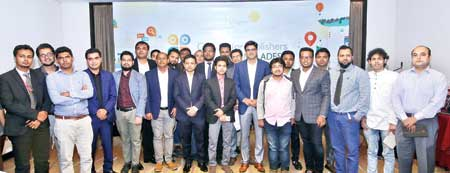 Google South Asia Frontier Country Consultant Hashmi Rafsanjani, Google Strategic Partner Manager Shah Nawaz pose with the publishers at the Le Meridian Hotel of the Capital, recently.