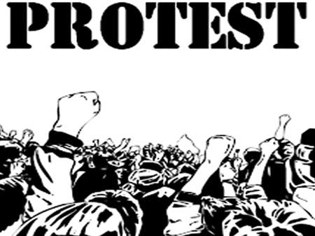 Students' protest against authority