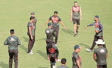 Bangladesh National Cricket Team having practice ahead of their T20 series against Sri Lanka at the Sher-e-Bangla National Cricket Stadium on Tuesday.     photo: BCB