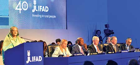 Prime Minister Sheikh Hasina delivering keynote speech in the 41st Session of the International Fund for Agricultural Development (IFAD) Governing Council held at its Headquarters in Rome on Tuesday.    photo : pid