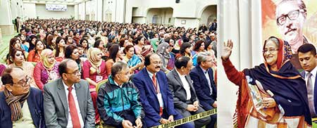 Prime Minister Sheikh Hasina addressing a reception staged in her honour by expatriate Bangladeshis in Italy on Tuesday night.    Photo: BSS