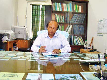 Professor Dr Parimal Kanti Biswas at his office.