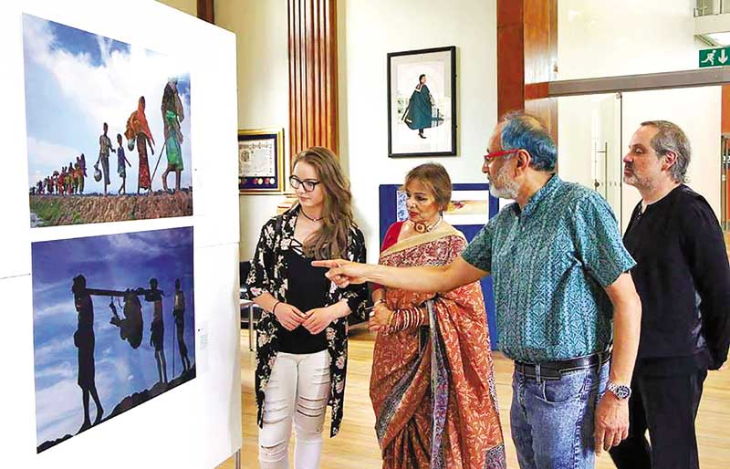 Dr Tasleem Shakur, coordinator of the exhibition with some viewers at the show.
