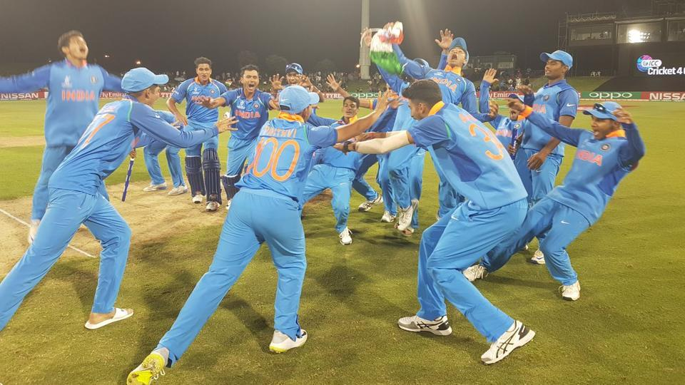 India celebrate immediately following the 2018 #U19CWC final in Tauranga
