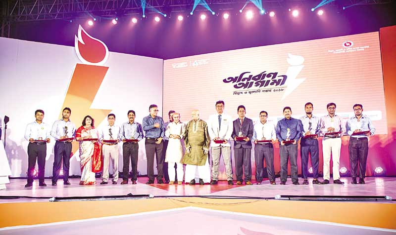 Participants at the ending ceremony of the 3-day Power and Energy Week-2018 at city�s Bashundhara Convention Centre recently.photo : observer