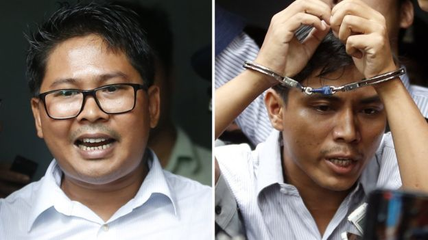 The verdict against Wa Lone (L) and Kyaw Soe Oo (R) has been widely condemned