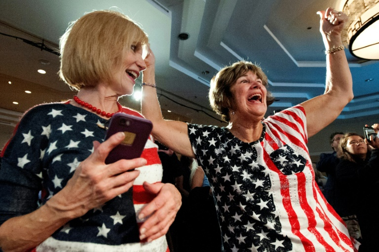 Democratic supporters celebrate after their candidate Jason Crow won a congressional seat in Denver, Colorado