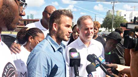 David Beckham campaigning for stadium during Miami election