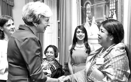 Jatiya Sangsad Speaker Dr Shirin Sharmin Chaudhury calls on British Prime Minister Theresa May at the latter's office at 10 Downing Street in London on Saturday.	photo : BSS
