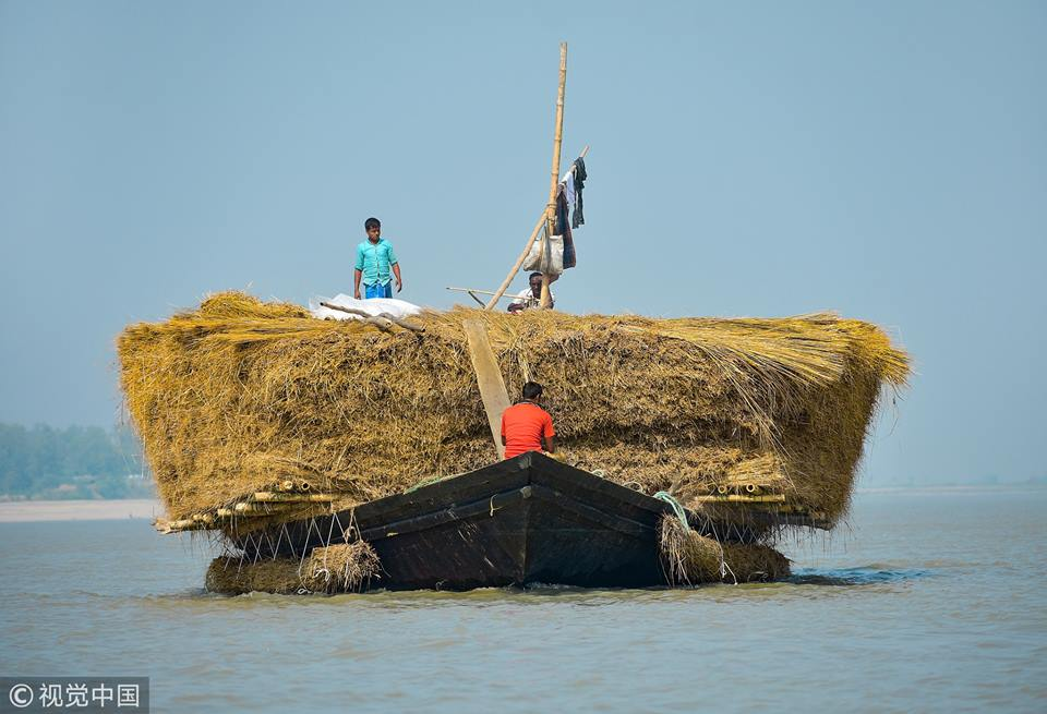 Incredible photos capture Bangladesh dealers sitting on enormous stacks of hay and jute by precariously balancing them on wooden boats and slowly motoring down the Jamuna River.