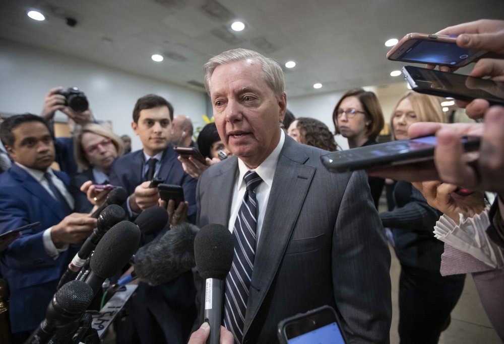 Sen. Lindsey Graham, R-S.C., chairman of the Subcommittee on Crime and Terrorism, speaks to reporters after a closed-door security briefing by CIA Director Gina Haspel on the slaying of Saudi journalist Jamal Khashoggi and involvement of the Saudi crown prince, Mohammed bin Salman, at the Capitol in Washington, Tuesday, Dec. 4, 2018. (AP Photo/J. Scott Applewhite)