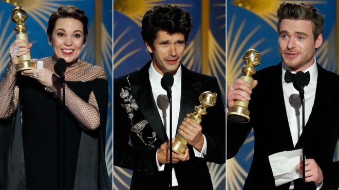 Left-right: Olivia Colman, Ben Whishaw and Richard Madden