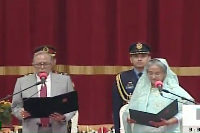 Hasina takes oath as PM for 3rd straight term