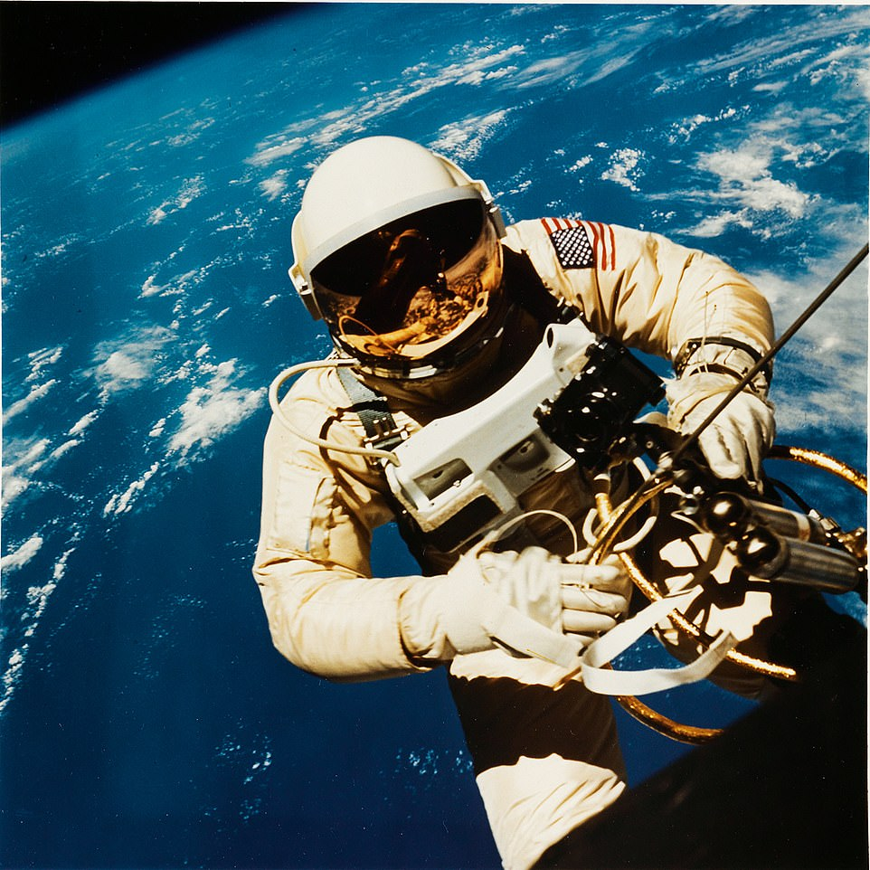 Astronaut Edward H. White II in 1965, from a NASA archive of 350 silver and chromogenic prints chronicling missions in space, 1960-2002. The prints are estimated to cost $6,000 to $9,000