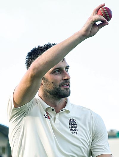 Mark Wood of England walks off the field after taking 5 West Indies wicket for 41 runs during day 2 of the 3rd and final Test between West Indies and England at Darren Sammy Cricket Ground, Gros Islet, Saint Lucia, on Sunday.photo: AFP