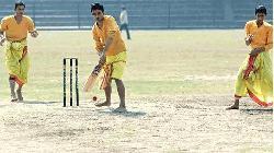 Cricket in Dhoti-kurta; commentary in Sanskrit