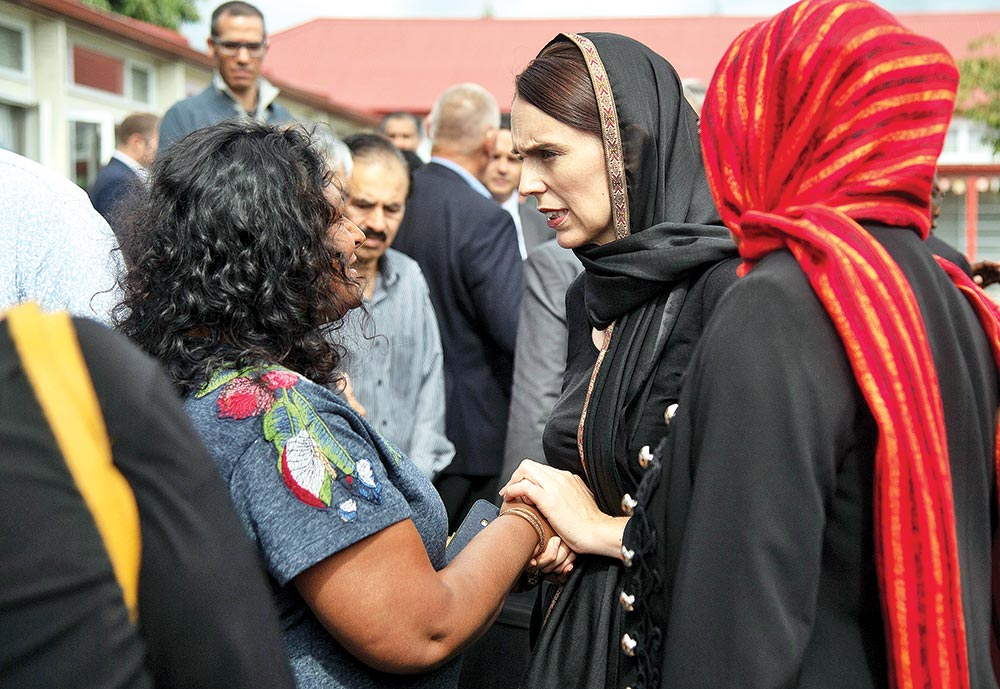 New Zealand Prime Minster Jacinda Ardern visits a Muslim community at the Canterbury Refugee Centre in Christchurch on March 16.	Photo : STUFF.CO.NZ