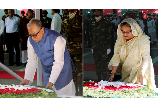 President, PM pay tribute to Bangabandhu