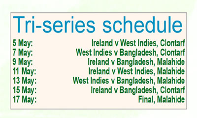 Tigers with Caribbeans to receive Irish hospitality for tri-series