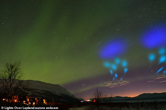 Captures of the show were grabbed via a webcam run by Lights Over Lapland, which helps sightseers get a glimpse of Aurora's through guided tours.