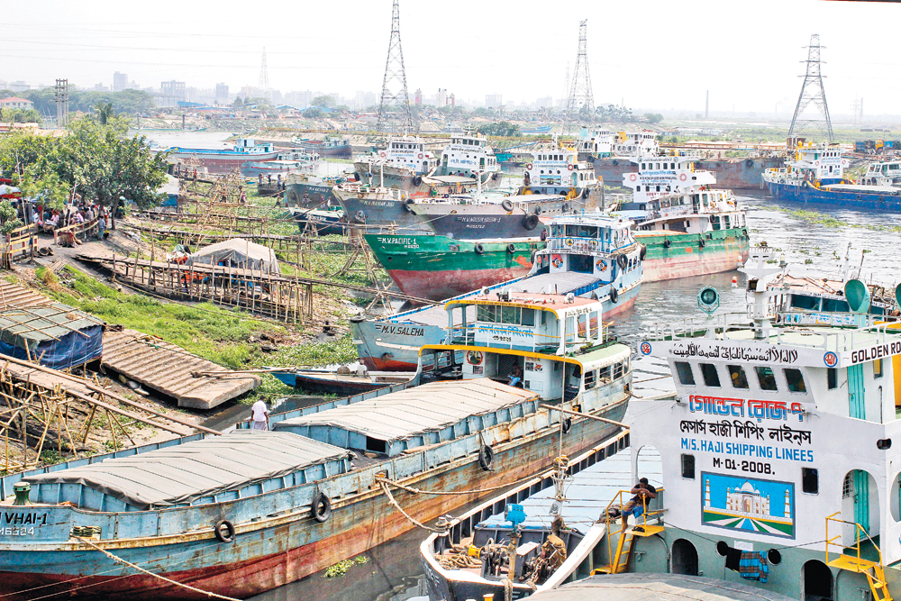 Water transport workers start a nationwide indefinite strike on Tuesday to press home their 11-point demand that includes steps to stop extortion and full implementation of pay scale 2016. The strike causes immense sufferings to passengers. The photo was taken from Gabtoli Ghat in the capital.photo: Observer