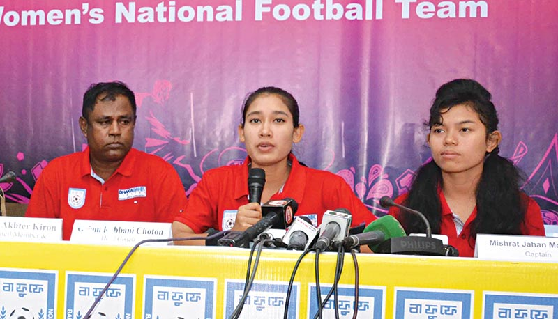 Bangladesh under-19 women's national football team skipper Misrat Jahan Mousumi talking to the media in the presence of coach Golam Robbani Choton (L) and co captain Maria Manda at a press briefing regarding Bangamata Under-19 Women's International Gold Cup on Saturday at the BFF House in Dhaka.	photo: BFF