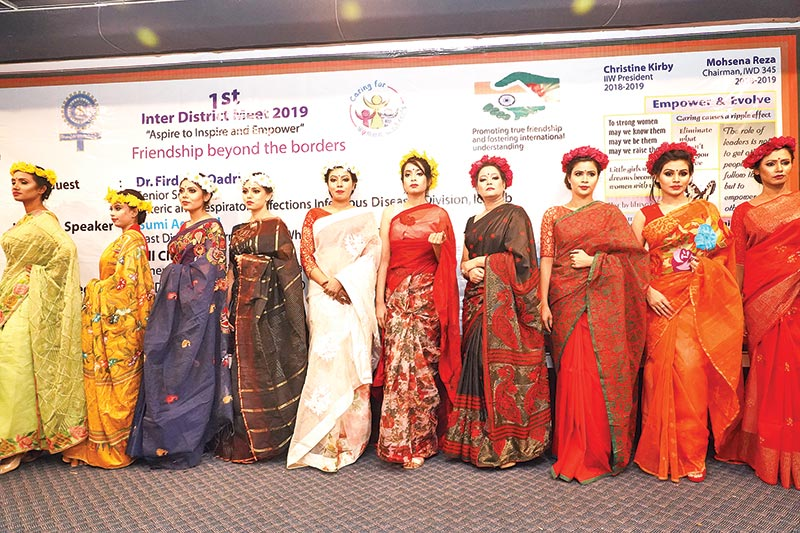Deprived women's handmade work on wardrobe put on display in the fashion show organised by Amina Haque Foundation at the 1st Inter-District Meet 2019 with the slogan
