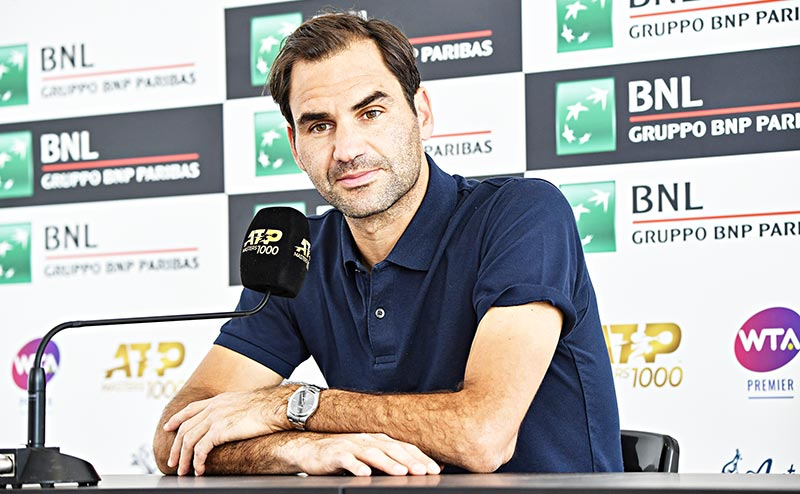 Roger Federer of Switzerland looks on during a press conference at the ATP Masters tennis tournament at the Foro Italico in Rome on May 14, 2019.photo: AFP