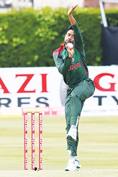 Bangladesh's Abu Jayed Rahi bowls during the Tri-Nation Series, one-day international between Ireland and Bangladesh at the Clontarf Cricket Club Ground in Clontarf, Dublin on Wednesday. 	photo: AFP