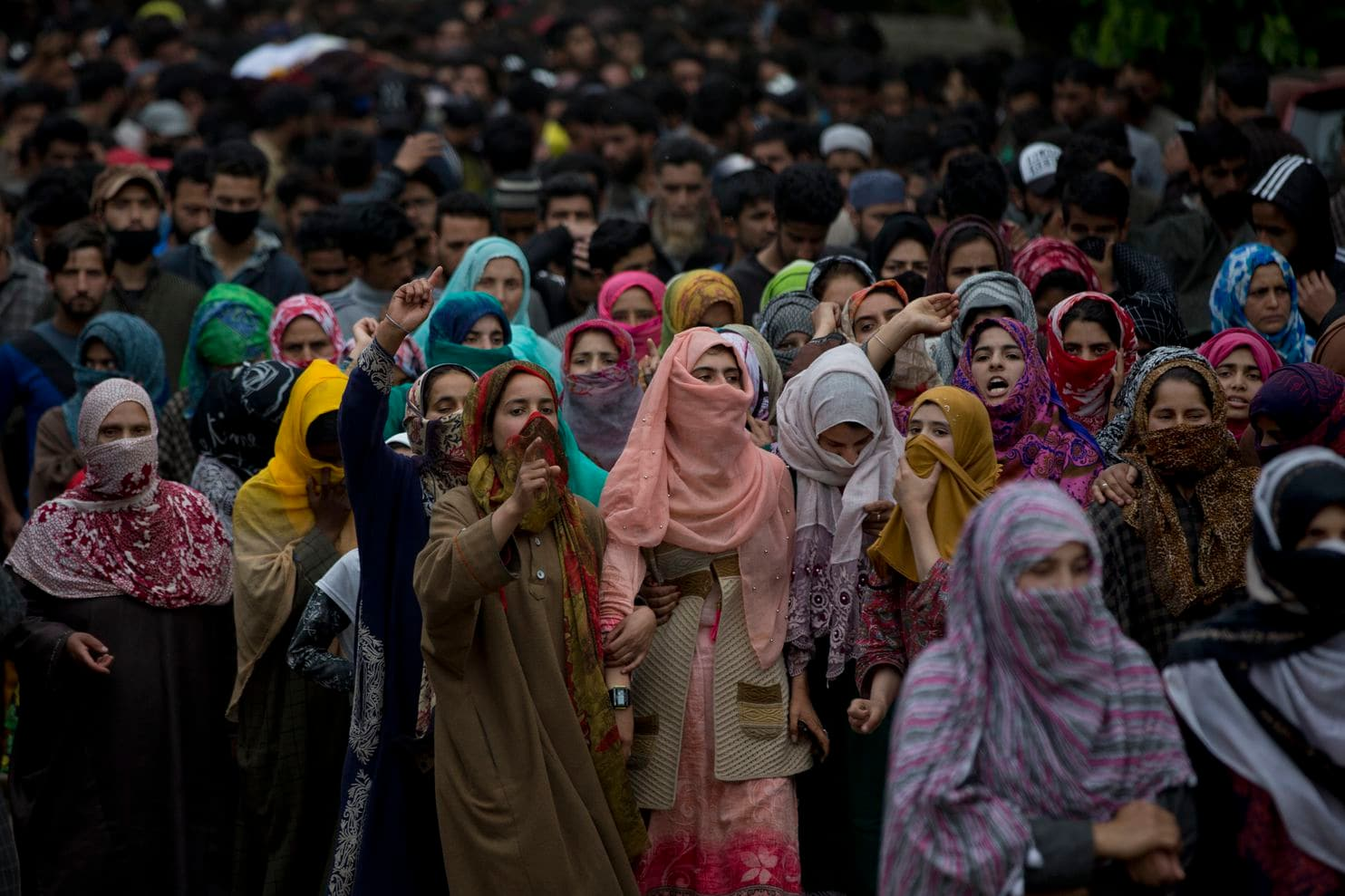 Kashmiri village women shout pro freedom slogans as they participate in funeral procession of top rebel commander Naseer Pandith, in Pulwama, south of Srinagar, Indian controlled Kashmir, Thursday, May 16, 2019. (Dar Yasin/Associated Press)