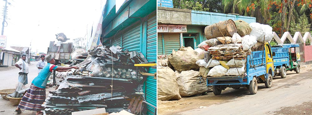 Scrap material traders running business on Noakhali road
