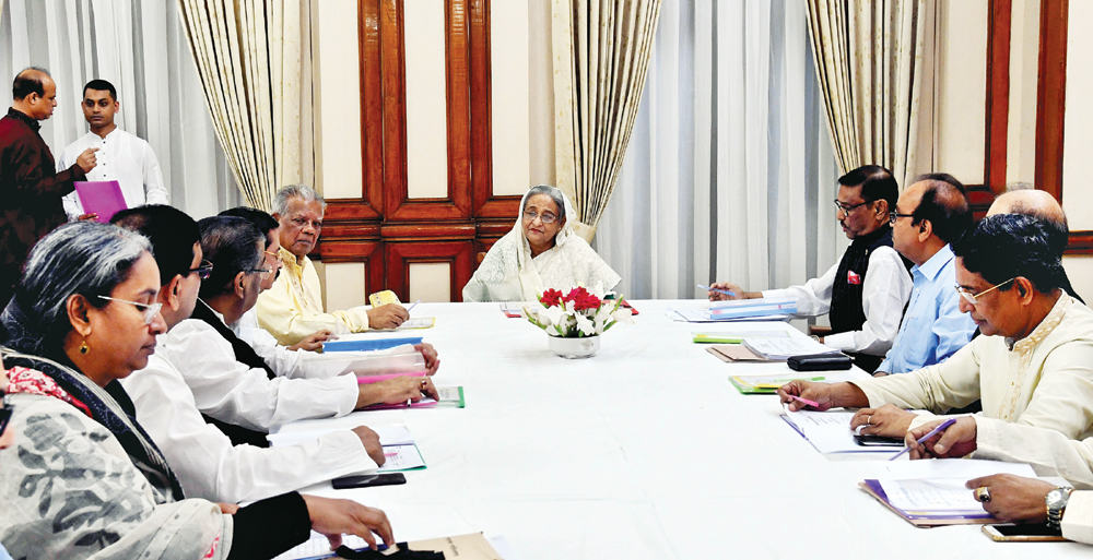Prime Minister Sheikh Hasina presiding over a meeting of the Awami League parliamentary nomination board held at Ganobhaban in the capital on Sunday.	photo : pid