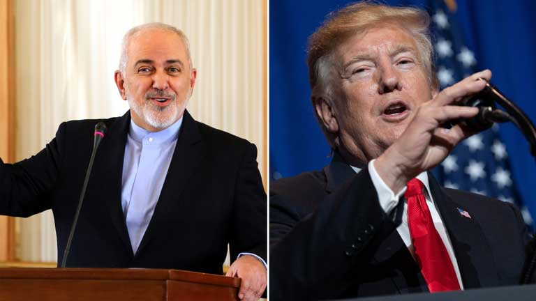 """Goaded by #B_Team,"" Zarif wrote on Twitter, in an apparent reference to Trump advisers such as John Bolton, ""@realdonaldTrump hopes to achieve what Alexander, Genghis & other aggressors failed to do. Iranians have stood tall for millennia while aggressors all gone. #EconomicTerrorism & genocidal taunts won't 'end Iran'."""