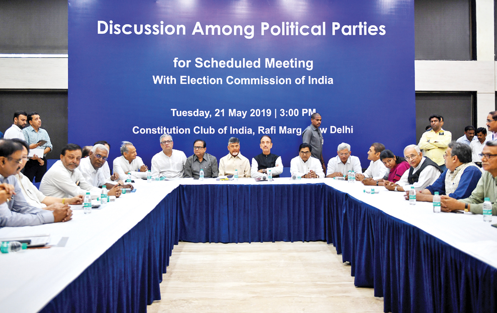 Members of 21 opposition parties sit in a meeting before going to the Election Commission of India in New Delhi on May 21. Twentyone representatives of the Indian opposition parties met the Election Commission regarding their      concerns about Electronic Voting Machines and the VVPAT (Voter Verified Paper Trail Machines).photo : AFP