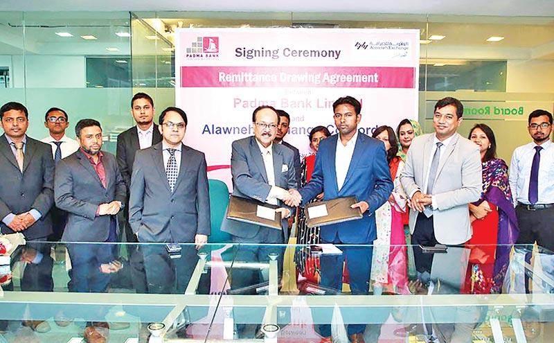 Padma Bank signs deal with Jordan's Alawneh Exchange