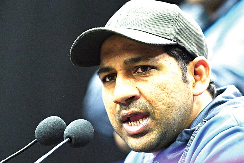 Pakistan's captain Sarfaraz Ahmed attends a press conference at The County Ground in Taunton, southwest England on June 11, 2019, ahead of their 2019 World Cup match against Australia.photo: AFP