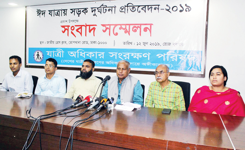 President of Jatree Odhikar Sangrakkhan Parishad (Passenger Rights Protection Council) Brig Gen (retd) GM Quamrul Islam addressing a press conference on road accidents at the Jatiya Press Club in the city on Wednesday.photo: observer